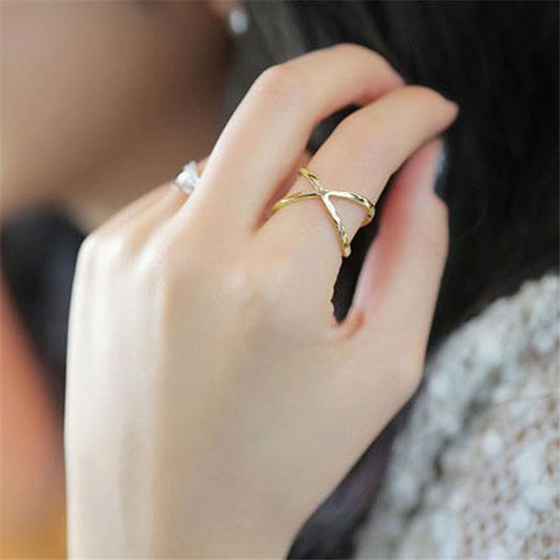 8SEASONS 2016 Girl X Shape Rings Rose gold color dull silver color