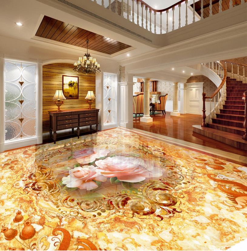 High Quality 3d Floor Marble Custom Romantic Flower 3d Floor Tiles