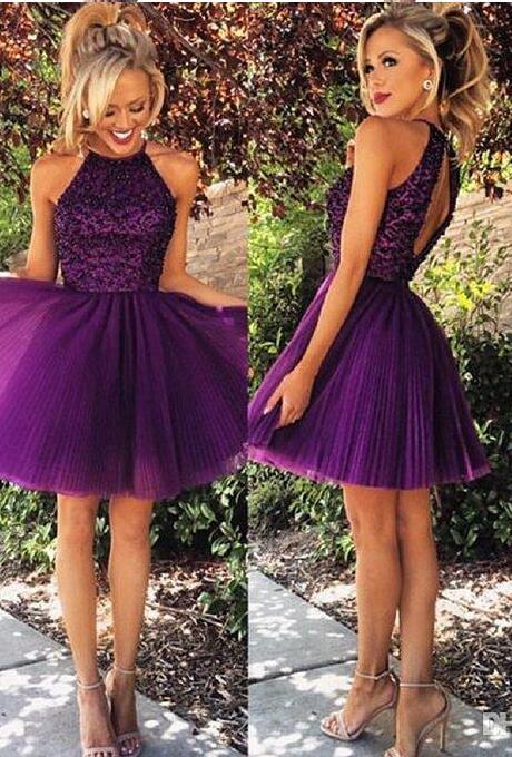 2017 Purple Short Dress With Beaded Top Cute And Flirty