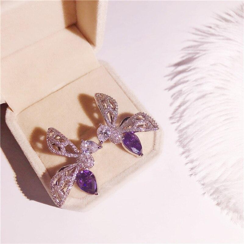 Solide 925 argent boucles d'oreilles pour les femmes violet cubique zircone papillon créatif boucle d'oreille Simple accessoire de mariage Bijoux de mariée