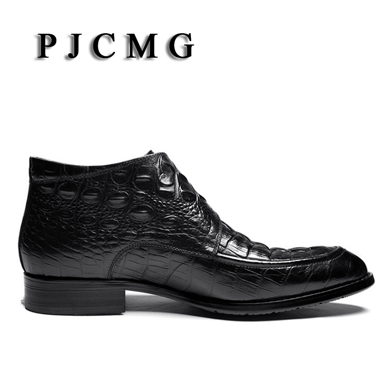 PJCMG Mode Krokodil Patroon Ademend Hoge Kwaliteit Lederen Laarzen Klittenband Puntschoen Oxford Enkellaarsjes Voor Mannen - 4