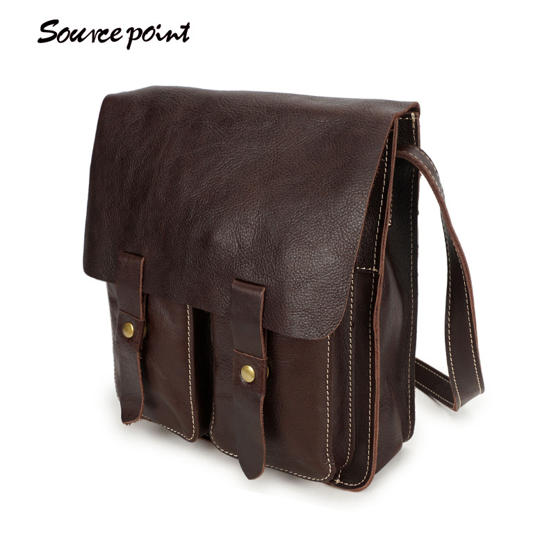 SOURCE POINT Genuine Leather Men Bags Vintage Men's Messenger Bag Flap Shoulder Crossbody Bags Male Leather Bag Handbags YD-8155 neweekend genuine leather bag men bags shoulder crossbody bags messenger small flap casual handbags male leather bag new 5867