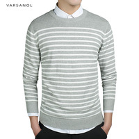 Varsanol Brand Mens Sweater Pullover Coat Long Sleeve Standard Thick Striped O Neck Outwear Autumn Classic