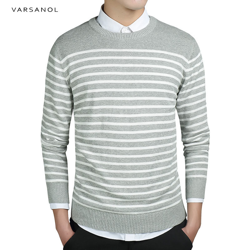Varsanol Brand Mens Sweater Pullover Coat Long Sleeve Standard Thick Striped O Neck Sweater Men Clothing Autumn Slim Knitted Top