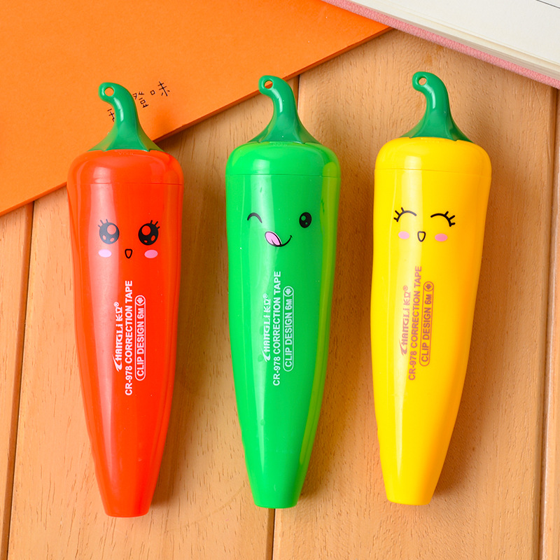 Cute Cartoon Pepper Correction Tape Student Stationery Office School Supplies