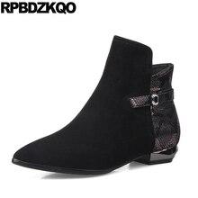 овчина батильоны Ботинки лодыжки для женщин средней пятки больших размеров замша коренастый дизайнер 10 обувь Размер 41 осенняя осень острый носок черный змея плоские китайский мода новый 2017 короткая женский