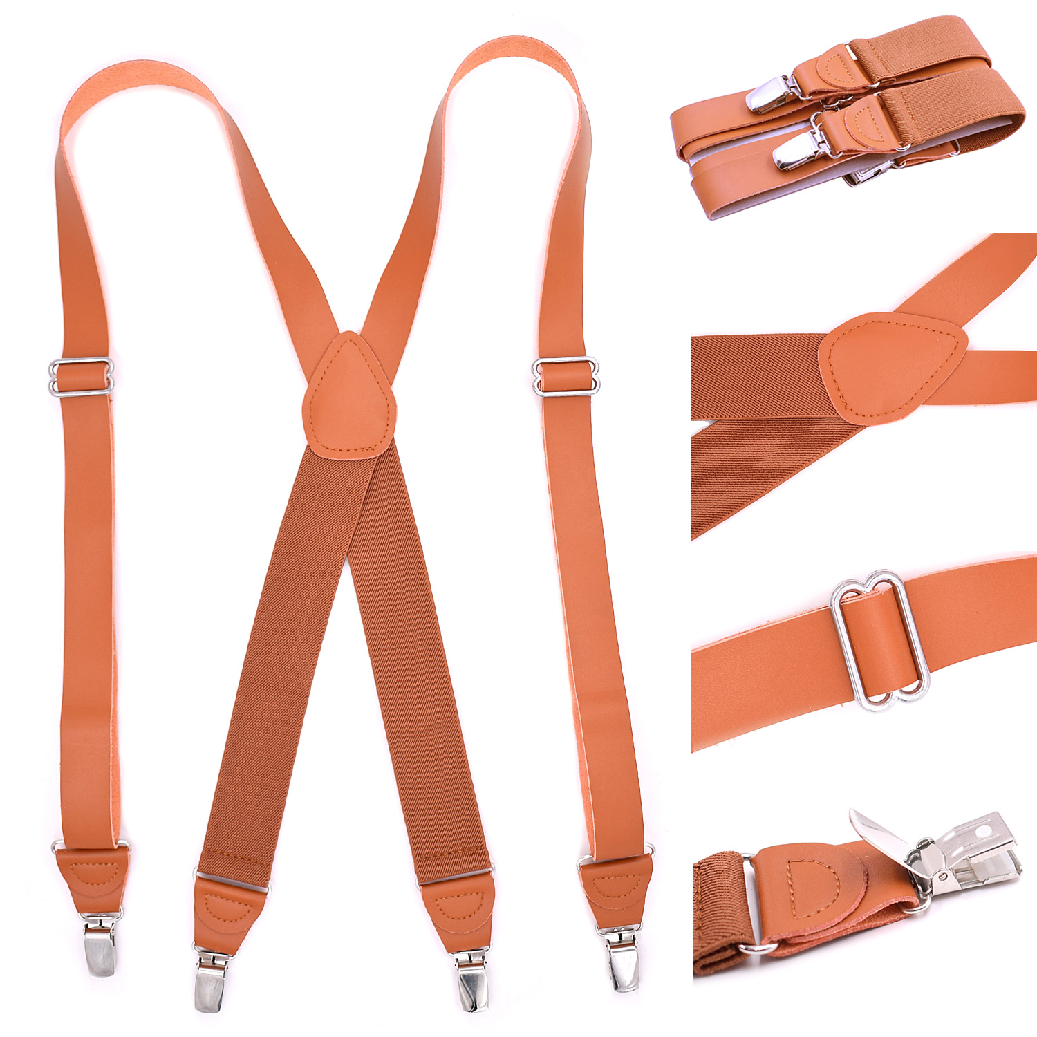 Brand Adult Elasticity 4 Clips X Leather Strap Unisex Elastic Adjustable Strap Clips High Quality Shirt Suspenders