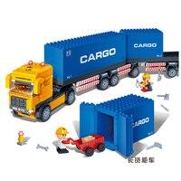 Banbao 8763 Konteyner Kamyon Taşıma 562 adet Plastik Model Building Block Eğitim DIY Tuğla Setleri Oyuncaklar Noel hediyesi