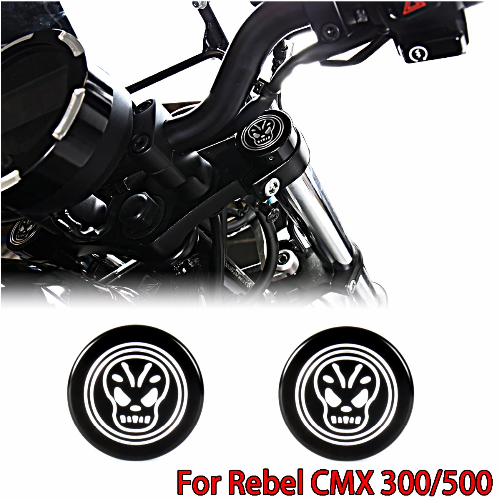 L&R Black Front Billet Aluminum Fork Caps For 2017-2018 Rebel CMX 300 Models