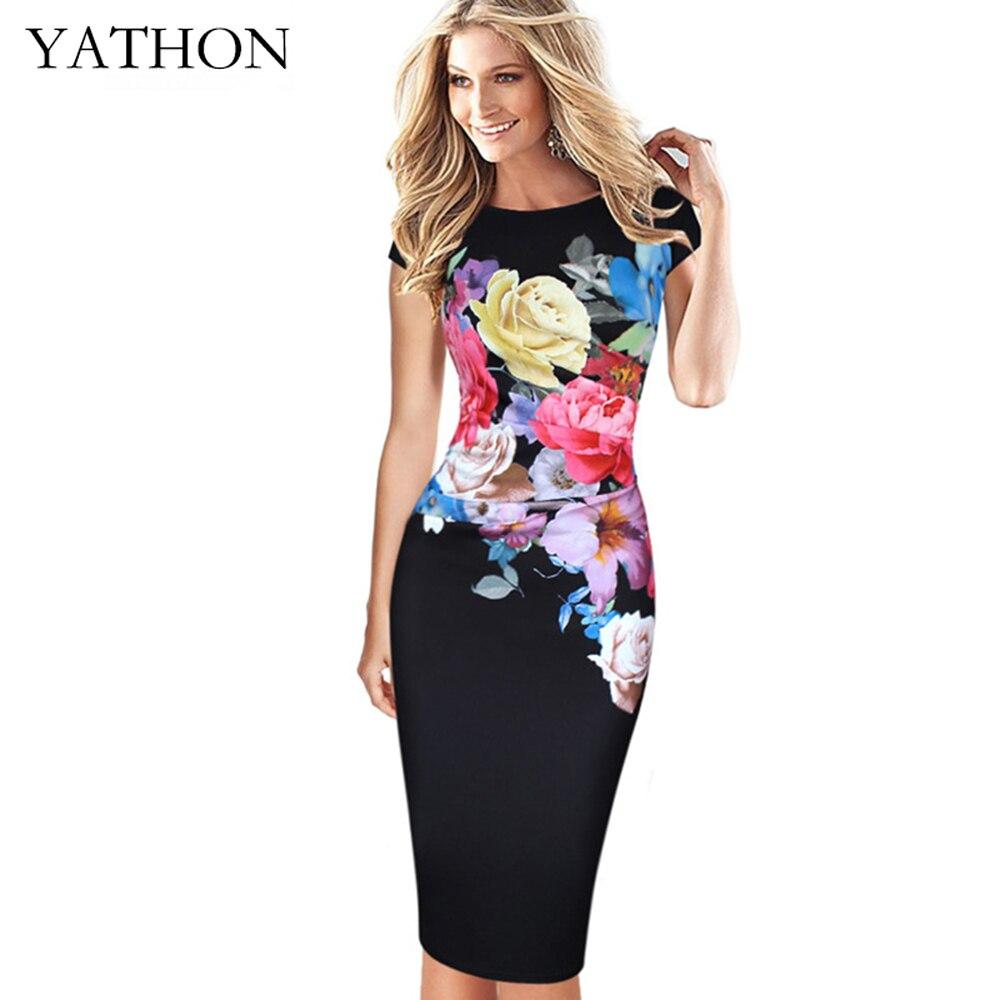 YATHON Estampado floral de Trabajo de Oficina Casual Vestido Ajustado Para Mujer