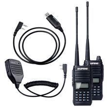 2PCS Walkie Talkie BaoFeng UV-66 VHF UHF Dual Band 136-174/400-480MHz FM Two Way Ham Radio Transceiver +Speaker Mic+Cable