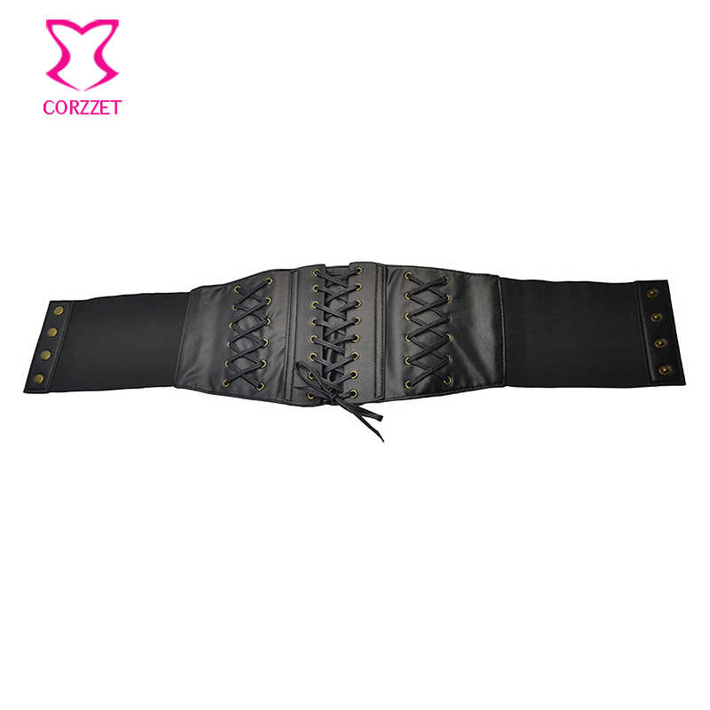 الأسود فو جلدية الجبهة الدانتيل يصل مثير روك واسعة حزام مشبك cummerbund الاكسسوارات القوطية الخصر حزام steampunk خمر أحزمة للنساء