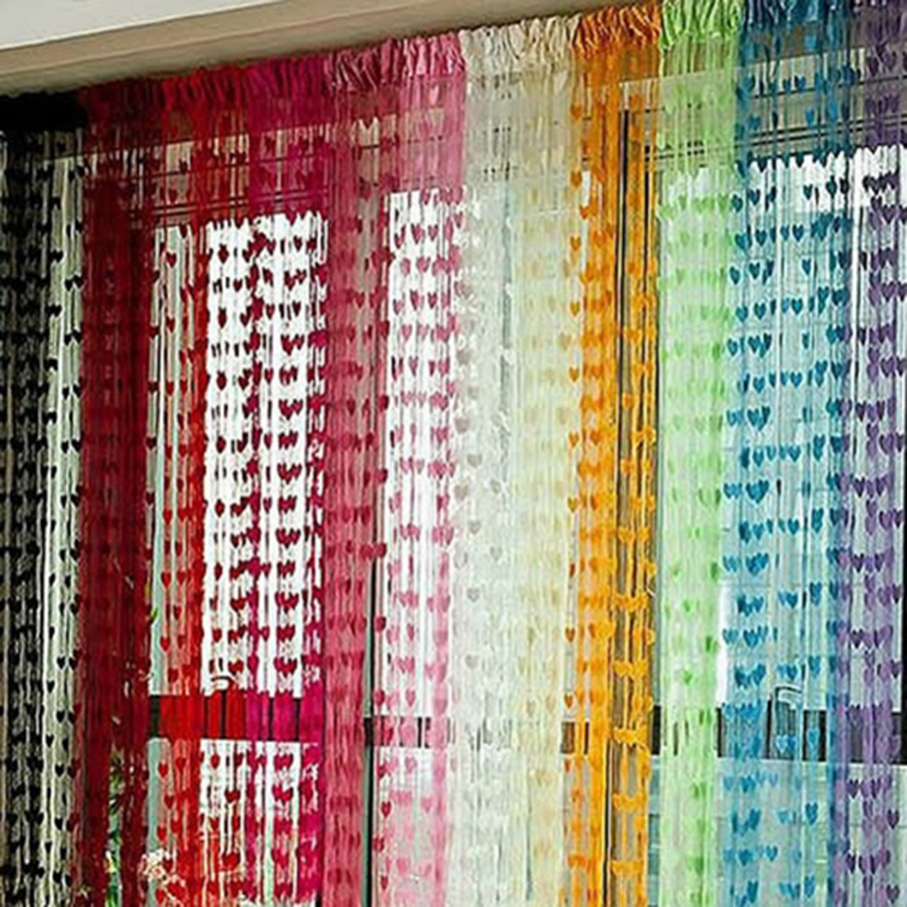 Cute Heart Line Tassel String Door Curtain Window Room Divider Curtain Valance Hot