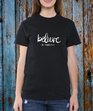 BELIEVE IN YOURSELF SLOGAN QUOTE TEE T SHIRT TOP UNISEX BLACK WHITE BLOGGERFashion Design Free Shipping  Mens Shirts Fashion