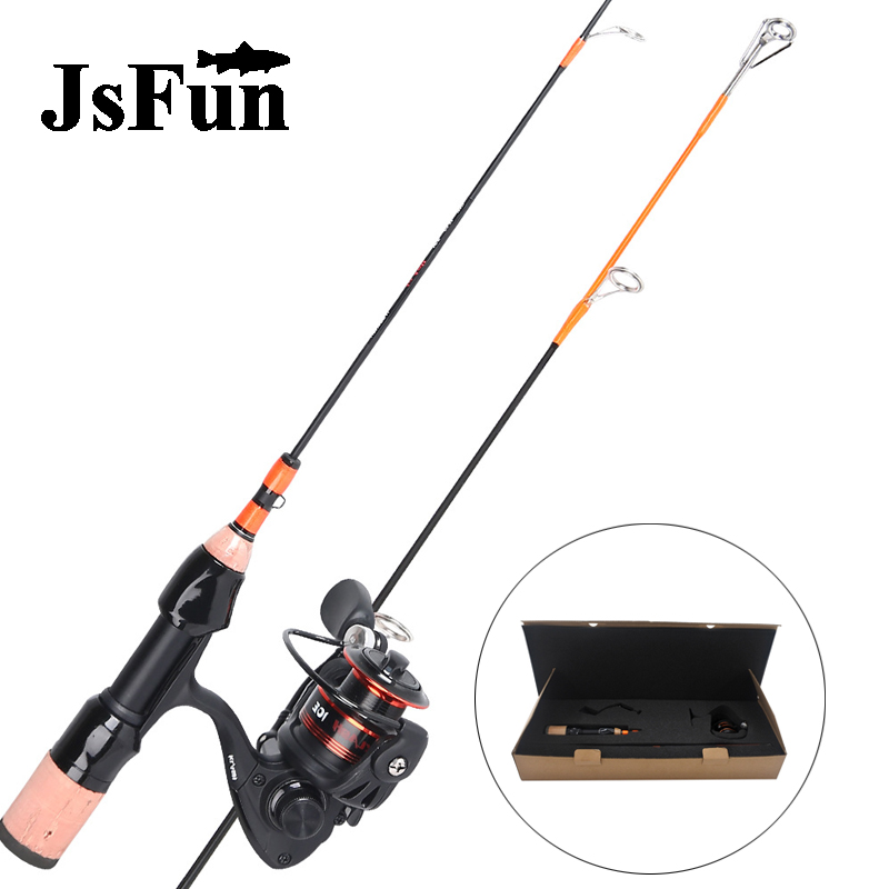 Fishing Rod Combo Portable Carbon Fishing rod 52cm Winter rod 2 section+ spinning Reel Ultralight Ice Fishing Pole Set FG155