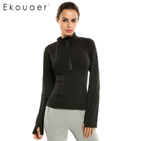 Ekouaer Women Shirt Slim Long Sleeve Fitness Clothing Tops Solid Color White And Black Casual Top