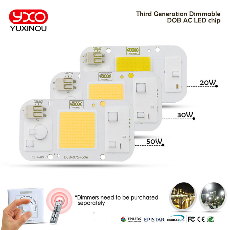 1PCS DOB Dimmable LED COB Lamp Chip 20W 30W 50W AC 220V Input Smart IC Driver Fit For DIY LED Floodlight Spotlight LED Bulb