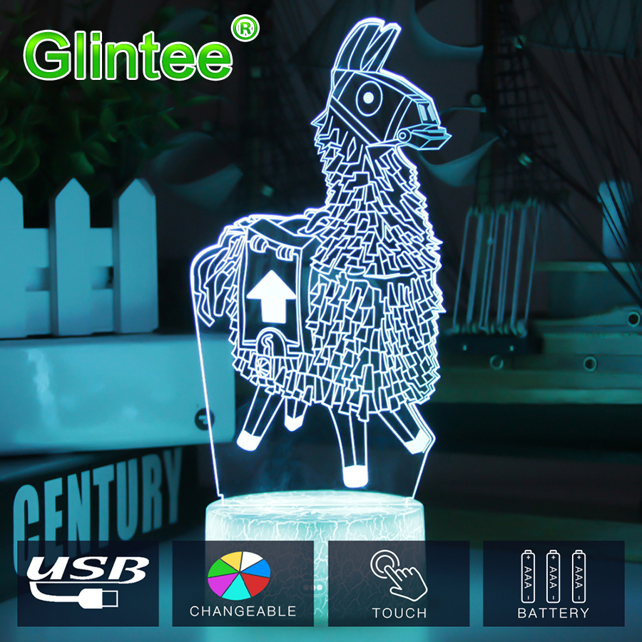 Fortnit Llama 3D Lamp Touch Switch Poke lamps Alpaca Crystal RGB Crackle Base Night Light for Birthday Holiday Christmas Gift