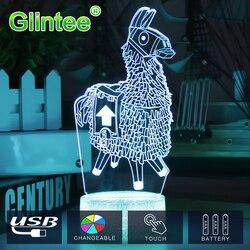 Lámpara táctil Fortnit Llama 3D lámparas Poke Alpaca cristal RGB Crackle Base luz nocturna para cumpleaños vacaciones navidad regalo