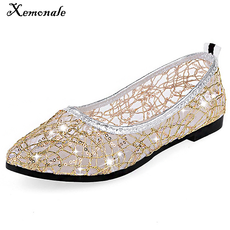 2f1db4988ada Xemonale Gitter Ballet Flats 2016 Breathable Loafers Summer Style Shoes  Woman Slip On Gold Silver Casual Women Shoes Size 35-40