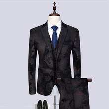 2019 new mens slim suit 3-piece (coat + trousers vest) black fancy host performance dress groom wedding