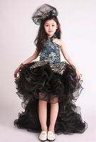 100%real childrens girl luxury black ruffled zebra beading flower trailing dance dress/party/event stage performance dress