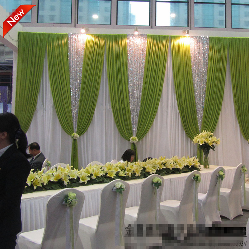 Free DHL Romantic Popular Wedding Swag Curtain Drap Wedding Backdrops 20ft (w) x 10ft (h) for wedding decoration