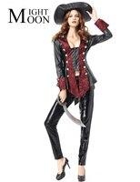 MOONIGHT Cadılar Bayramı Kadınlar Yetişkin Korsan Kostümleri Kız Şövalye Cavalier Giyim Uzun Kollu Siyah Karayip Korsan Cosplay