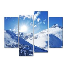 4Piece Canvas Art Printing Beautiful snow mountain Painting Custom Canvas Print On Canvas Printing Wall Pictures Home Decoration цены онлайн