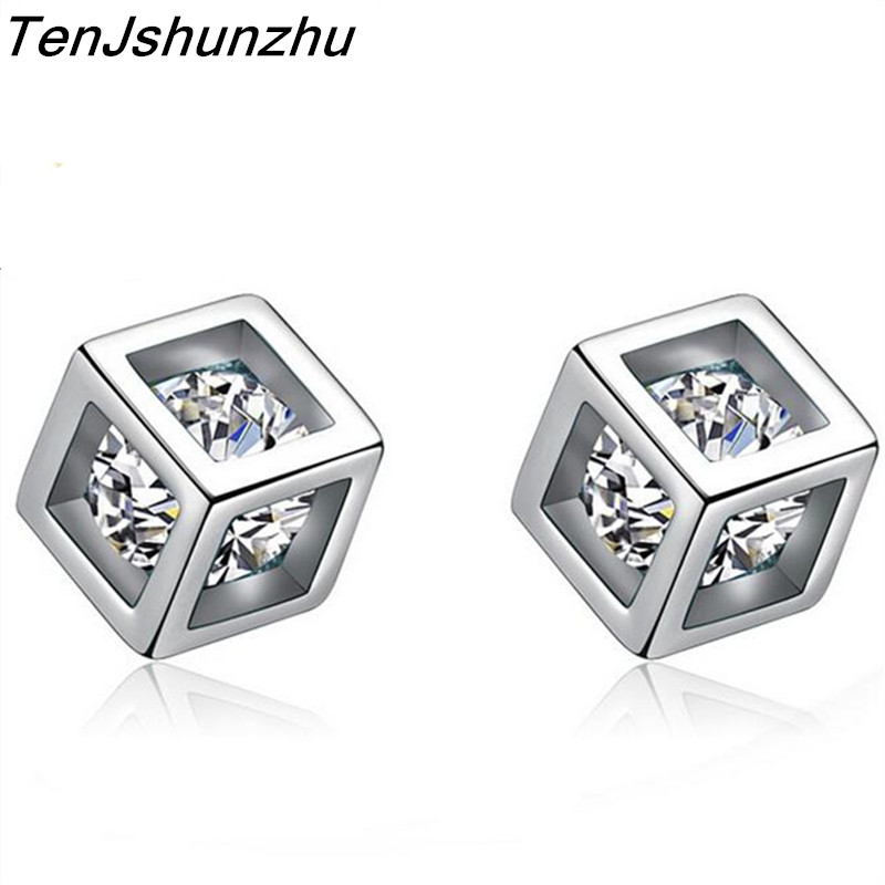 TenJshunzhu Real Silver Square Stud Earrings with AAA Zircon Woman Fashion Jewelery Engagement Gift eh216