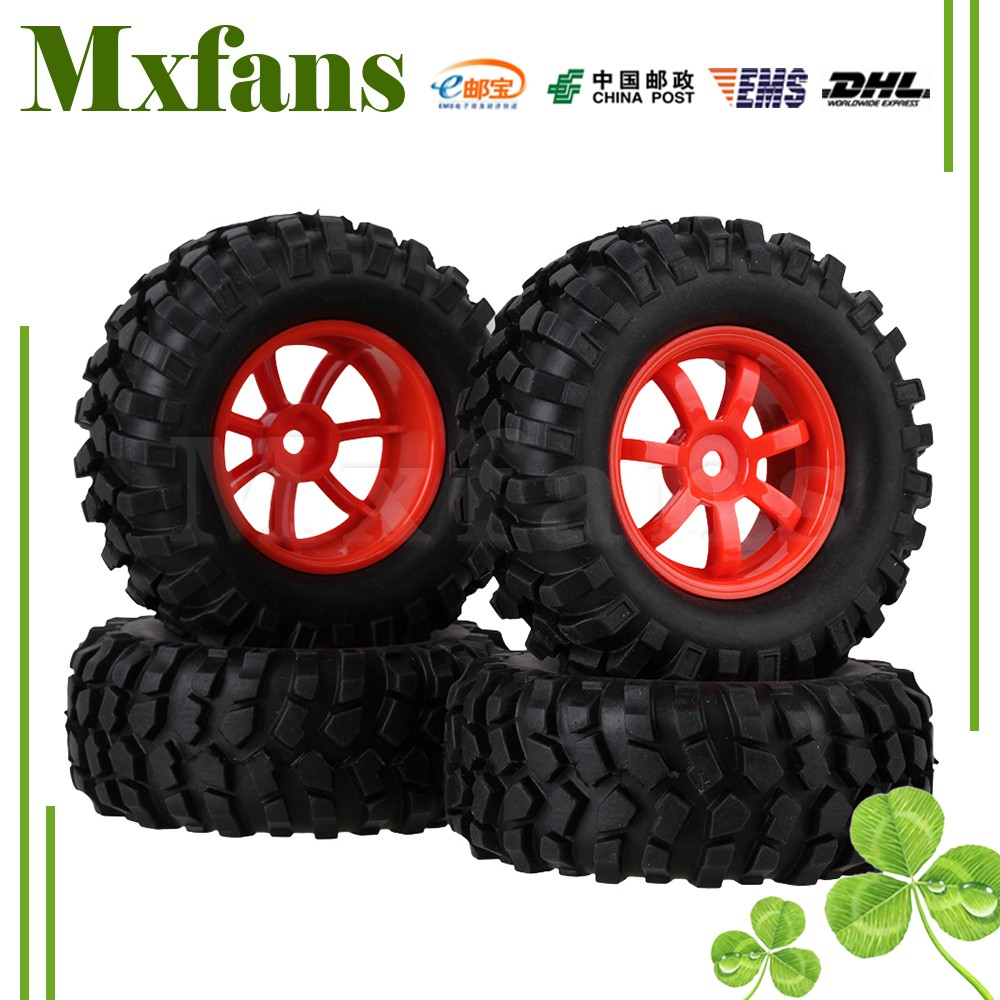 Mxfans RC 1:10 Rock Crawler Plastic 7 Spoke Wheel Rims Rubber Tyres Tires стоимость