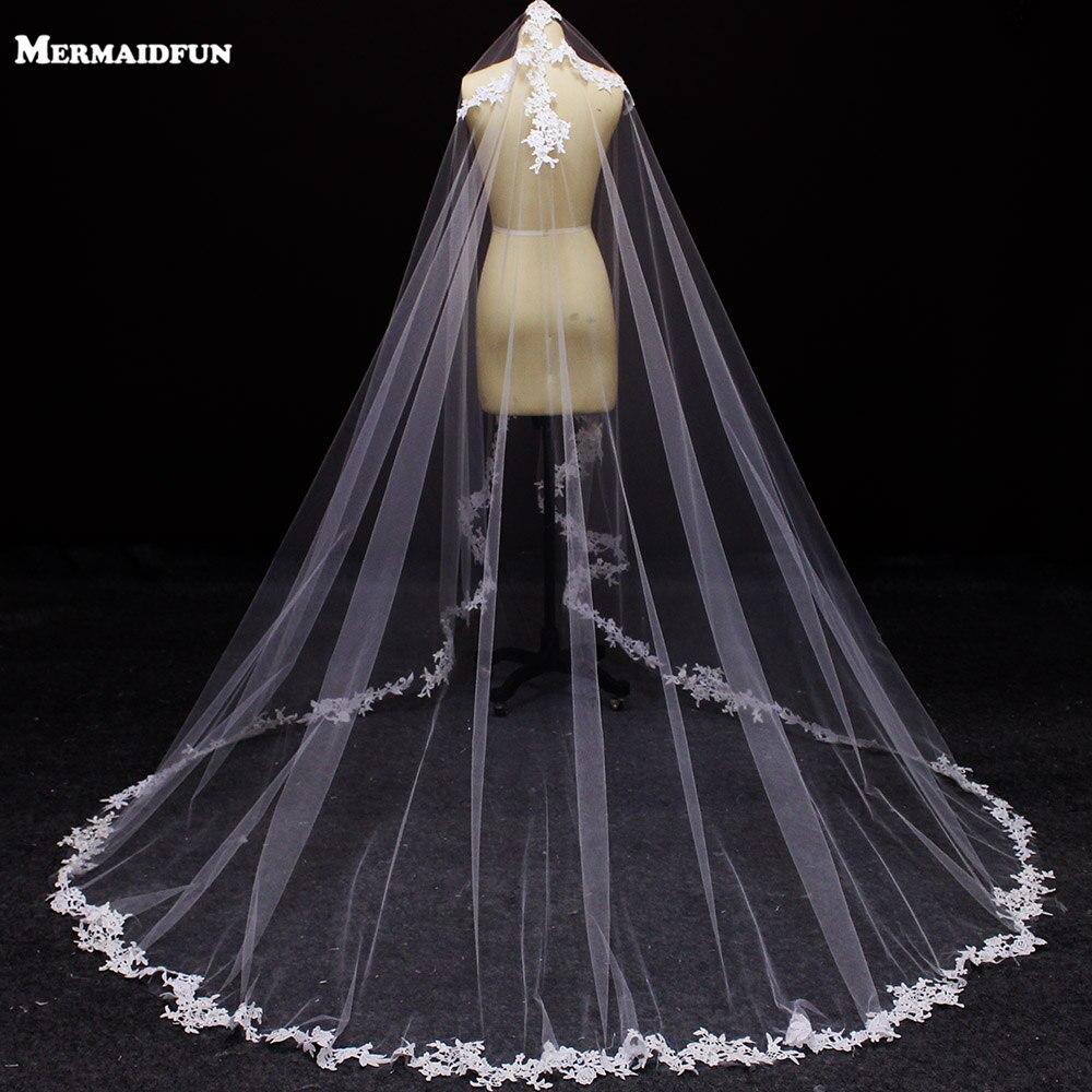 White Ivory Tulle 3m Long One Layer Applique Edge Wedding Veil Elegant New Fashion Wedding Accessories Hot Bridal Veils