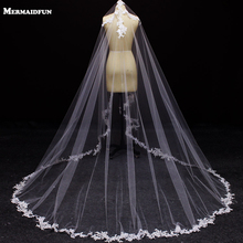 White Ivory Tulle 3m Long One Layer Applique Edge Wedding Veil Elegant New Fashion Wedding accessories Hot Bridal Veils