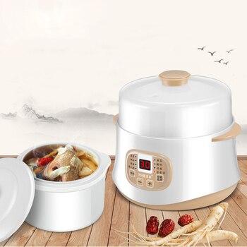 Kbxstart 200W Multifunction Mini Slow Cooker Household Timer Steam Stew Ceramic Liner Water Stewing Soup Porridge Pots 0.8L 5