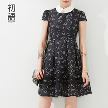Toyouth 2017 Chiffon Dress Summer Print Contrast Color Patchwork Dress Turn-Down Collar Lady  A-Line Dress