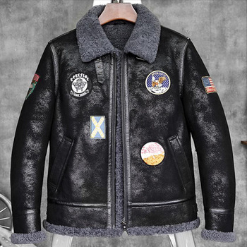 2018 NEW Mens B-3 Sheepskin Bomber Jacket Shearling Coat American flag armband Short Aviator Fur Coat