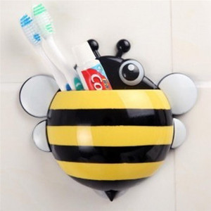 Image 4 - Storage Boxes Cute Bee Wall Mounted Toothbrush Holder Wall Children Sucker Toothpaste Bathroom Cases Accessories