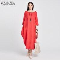 2017 ZANZEA Womens Crewneck 3 4 Sleeve Baggy Maxi Long Casual Loose Party Shirt Dress Kaftan