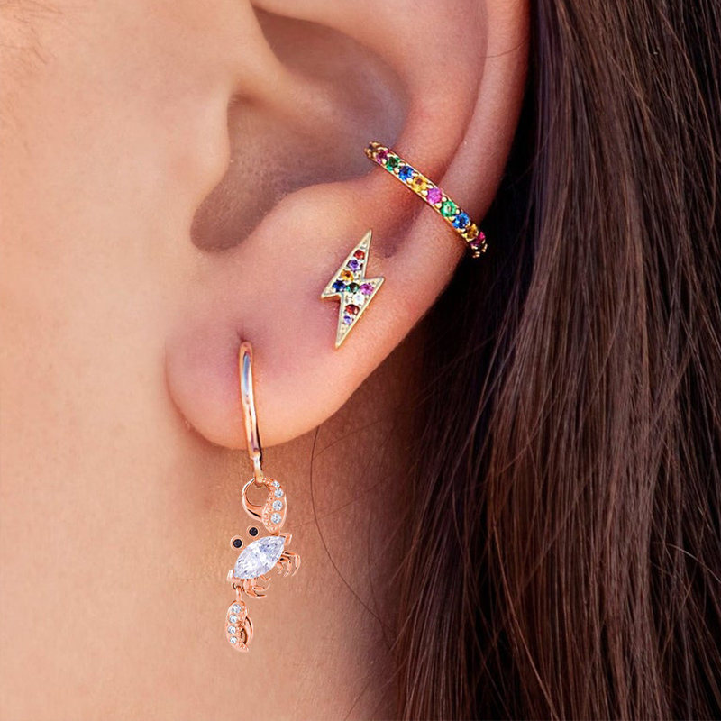 2019 New Rose Gold Crab Hoop Earrings Fashion Cubic Zirconia Ocean Animal Crystal Earrings For Women Party Jewelry