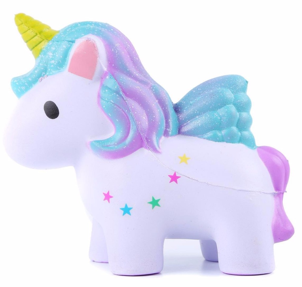 12.5cm Cartoon Mini Squishy Colorful Single Horned Horse Slow Rising Phone Strap Decor Kids Gift Soft Toy For Christmas Gift