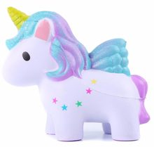 12.5cm Cartoon Mini Squishy Colorful single horned horse Slow Rising Phone Strap Decor Kids Gift Soft Toy For Christmas gift(China)