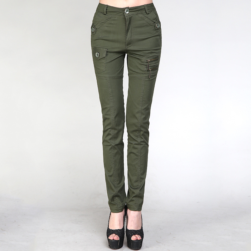 Summer Camouflage Cargo Pants Women Casual Military Cotton Army Green Pants With Pockets High Waist Stretch Long Pants Female