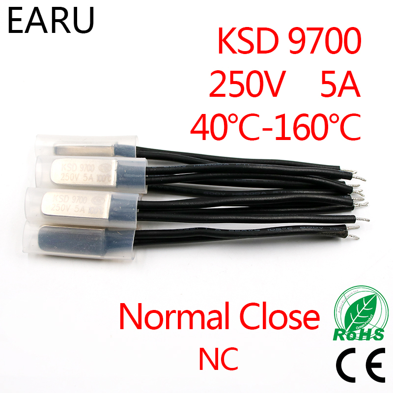 2PCS KSD9700 250V 5A Bimetal Disc Temperature Switch N/C Normal Close NC Thermostat Thermal Protector 40~135 Degree Centigrade
