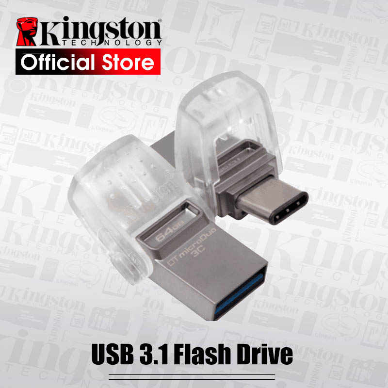Original Kingston USB Flash Drive DataTraveler Micro Duo 3C 64GB 32GB 128GB USB 3.1 For PC Phone with Type-C Port