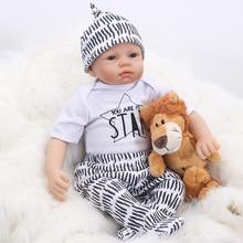 NPK 48CM Handsome boy with hat soft Bebe Reborn Dolls soft Silicone Reborn Baby Doll Lifelike Bonecas DIY lol Toys For Girls bjd