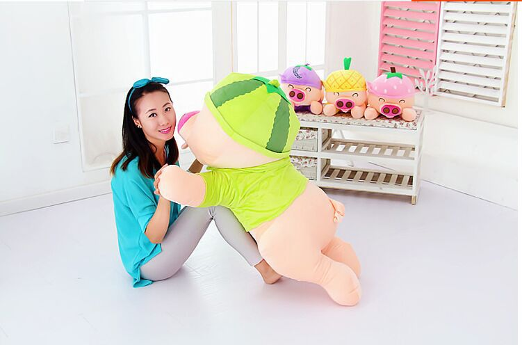 big plush  pig toy cuddly toy stuff lying watermelon pig doll valentine's day gift about 80cm