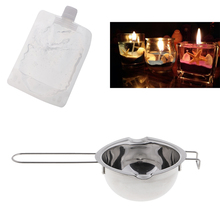 DIY Candles Making Set, 1 Piece Long Handle Stainless Steel Candle Wax Melting Pot + 200g Clear Gel Jelly Wax Blister Packaging