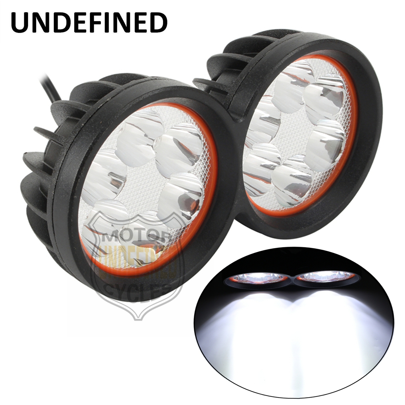 Motorcycle Parts 5000LM 12LED Hi/Lo Beam Double Dual Front Running Headlight Driving Spot Lamp 3 Wire For  Honda UNDEFINED