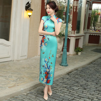 New Arrival Women's Long Cheongsam Hot Sale Traditional China Lady Silk Qipao Elegant Slim Dress Flower Size S M L XL XXLF071004