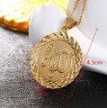 Bangrui Homens allah colar de pingente de ouro chain link rodada pingente de colar de moda jóias charme Islam oriente médio Presente & Jóias